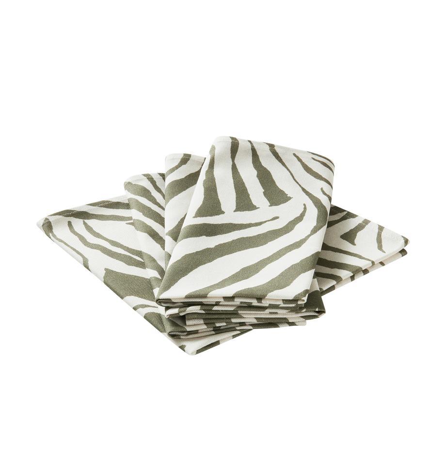 Servilletas de tela Zadie, 4uds., 100%algodón de cultivos sostenible de algodón, Verde oliva, blanco crema, An 45 x L 45 cm