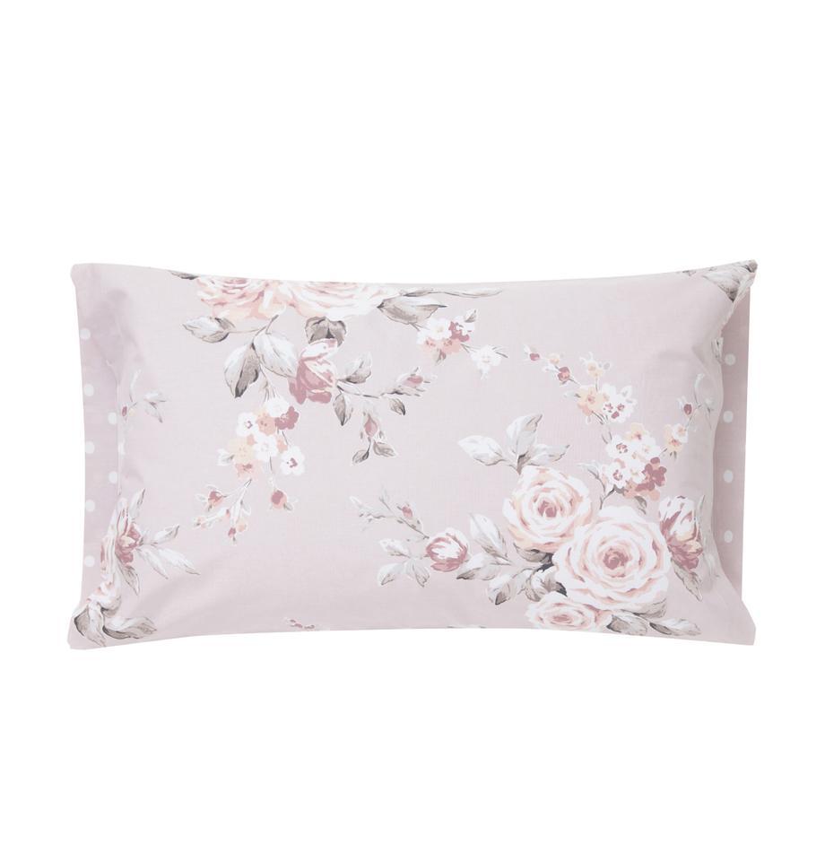Fundas de almohada Canterbury, 2uds., Algodón, Tonos rosas, gris, blanco, An 50 x L 85 cm