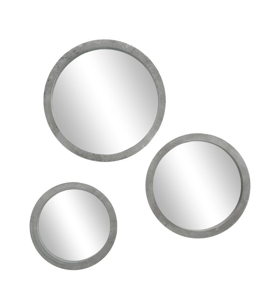 Set 3 specchi da parete Brest, Cornice: fibra di media densità (M, Cornice: grigio<br>Frontale: lastra di vetro, Set in varie misure