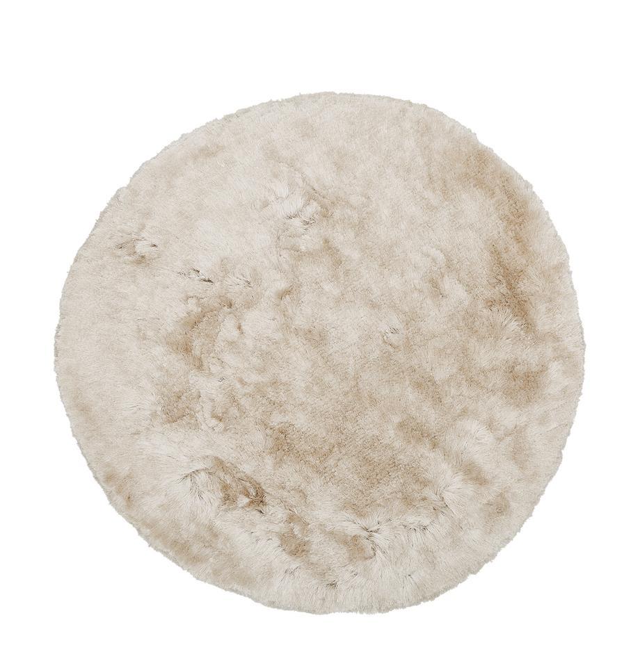 Alfombra redonda de pelo largo Jimmy, Parte superior: 100%poliéster, Reverso: 100%algodón, Marfil, Ø 150 cm (Tamaño M)