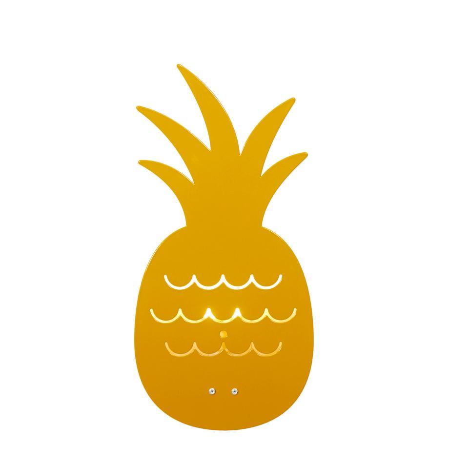 Applique ananas in metallo verniciato Pineapple, Metallo verniciato a polvere, Giallo ocra, Larg. 17 x Alt. 33 cm