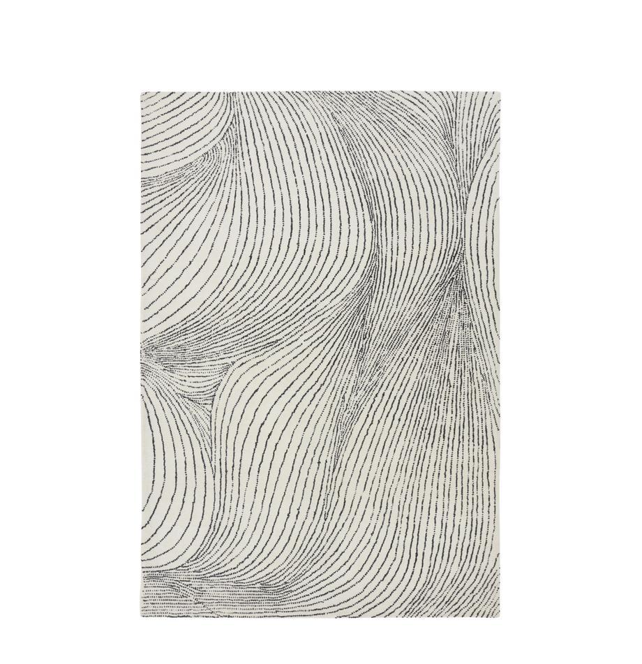Handgewebter Wollteppich Waverly, 100% Wolle, Weiß, Schwarz, B 160 x L 230 cm (Größe M)