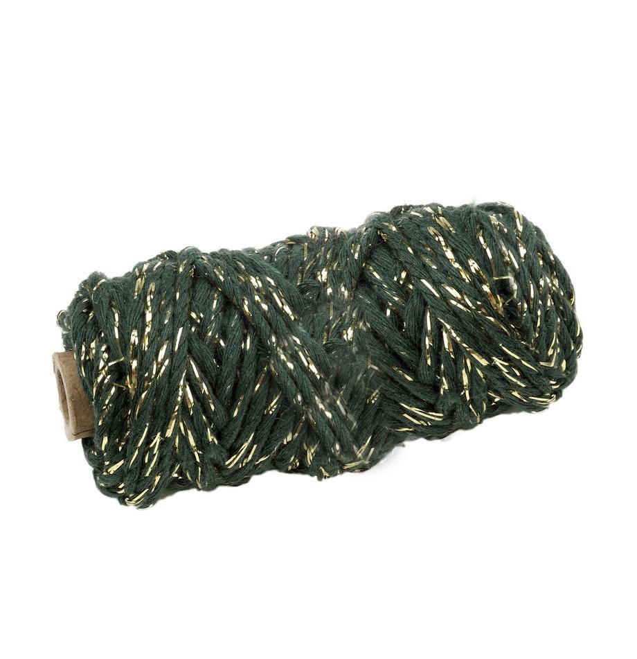 Cordón para regalos Twist, Algodón con hilo de lurex, Verde, dorado, L 25 m