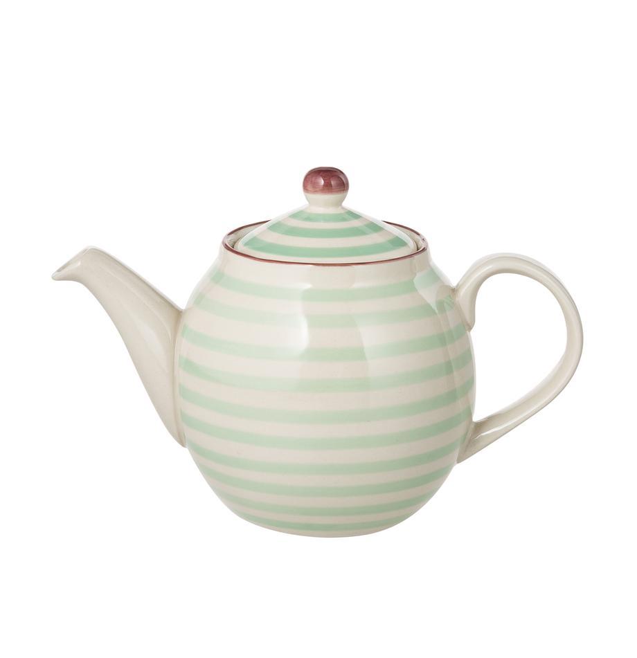 Handbemalte Teekanne Patrizia mit verspieltem Muster, 1.2 L, Steingut, Außen: Grün, Creme, Violett<br>Innen: Creme, 1.2 L