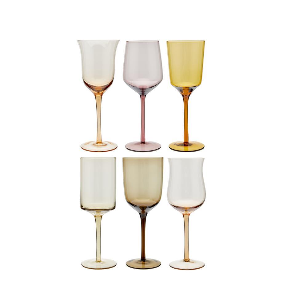 Kleurrijke mondgeblazen wijnglazenset Desigual, 6-delig, Mondgeblazen glas, Bruin, rozetinten, groen, geel, lila, Ø 7  x H 24 cm
