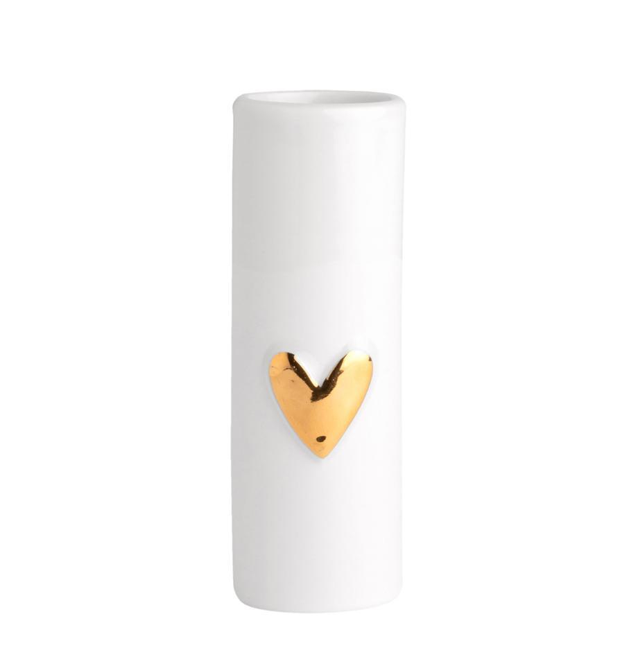Jarrones pequeños de porcelana Heart, 2uds., Porcelana, Blanco, dorado, Ø 3 x Al 9 cm