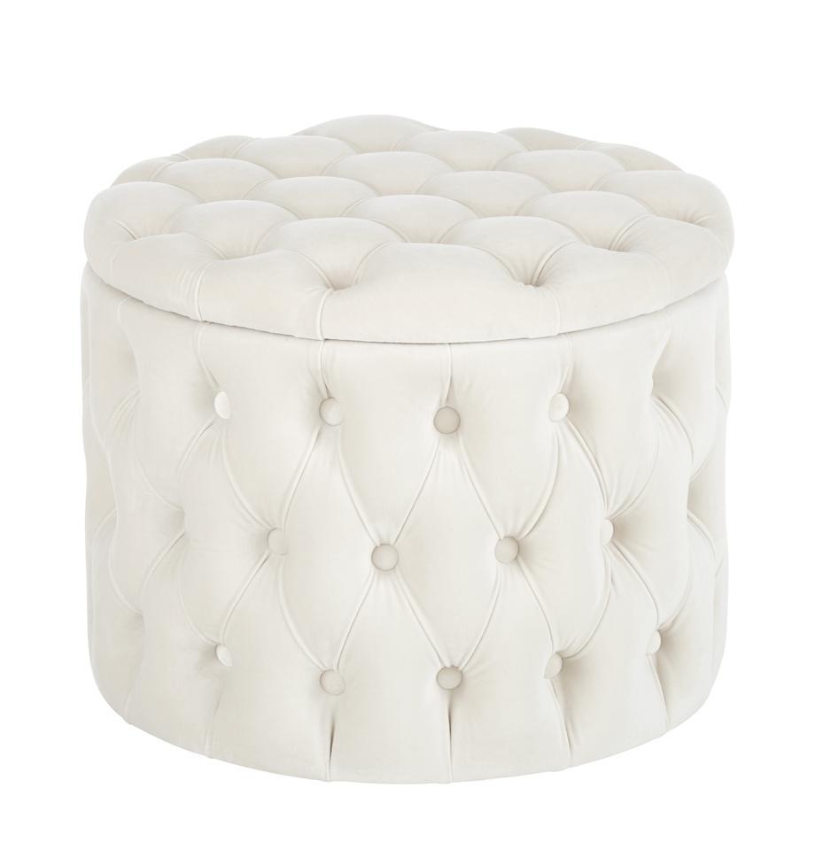 Pouf contenitore in velluto Chiara, Rivestimento: velluto (poliestere) 20.0, Bianco crema, Ø 50 x Alt. 40 cm