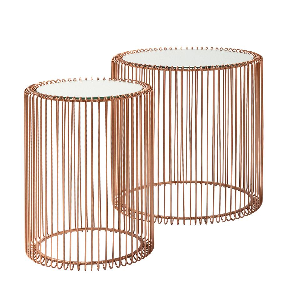 Komplet stolików pomocniczych z metalu ze szklanym blatem Wire, 2 elem., Stelaż: metal malowany proszkowo, Blat: szkło hartowane foliowane, Miedź, Komplet z różnymi rozmiarami