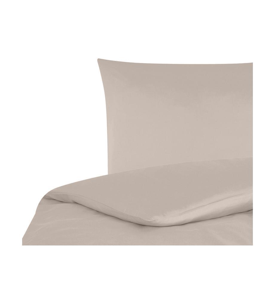 Pościel z satyny bawełnianej Comfort, Taupe, 135 x 200 cm