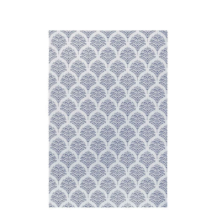 In- & Outdoor-Teppich Stan mit blauem Muster, 100% Polypropylen, Blau, Weiß, B 80 x L 150 cm (Größe XS)