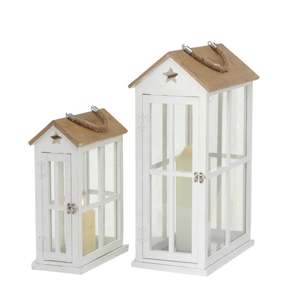 Laternen-Set Casa, 2-tlg., Gestell: Spiesstanne, beschichtet, Griff: Jute, Weiss, Holz, Set mit verschiedenen Grössen