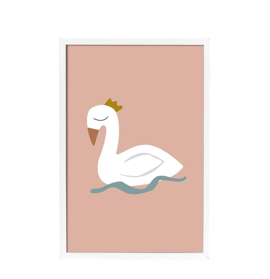 Gerahmter Digitaldruck Swan, Bild: Digitaldruck auf Papier, , Rahmen: Mitteldichte Holzfaserpla, Rosa, Weiss, Blau, Gelb, 45 x 65 cm