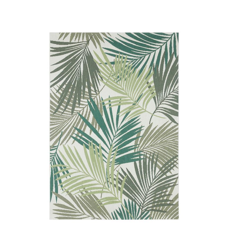 In- en outdoor vloerkleed Vai met bladpatroon, 100% polypropyleen, Groentinten, beige, B 80 x L 150 cm (maat XS)