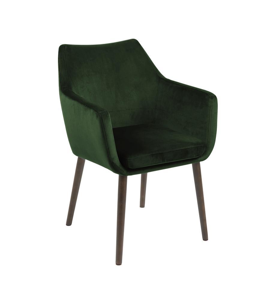 Sedia con braccioli in velluto Nora, Rivestimento: poliestere (velluto), Gambe: legno di quercia vernicia, Velluto: verde bosco Gambe: marrone scuro, Larg. 58 x Prof. 58 cm