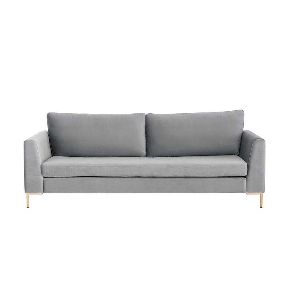 Samt-Sofa Luna (3-Sitzer) in Hellgrau mit Metall-Füssen, Bezug: Samt (Polyester) Der hoch, Gestell: Massives Buchenholz, Samt Hellgrau, Gold, B 230 x T 95 cm