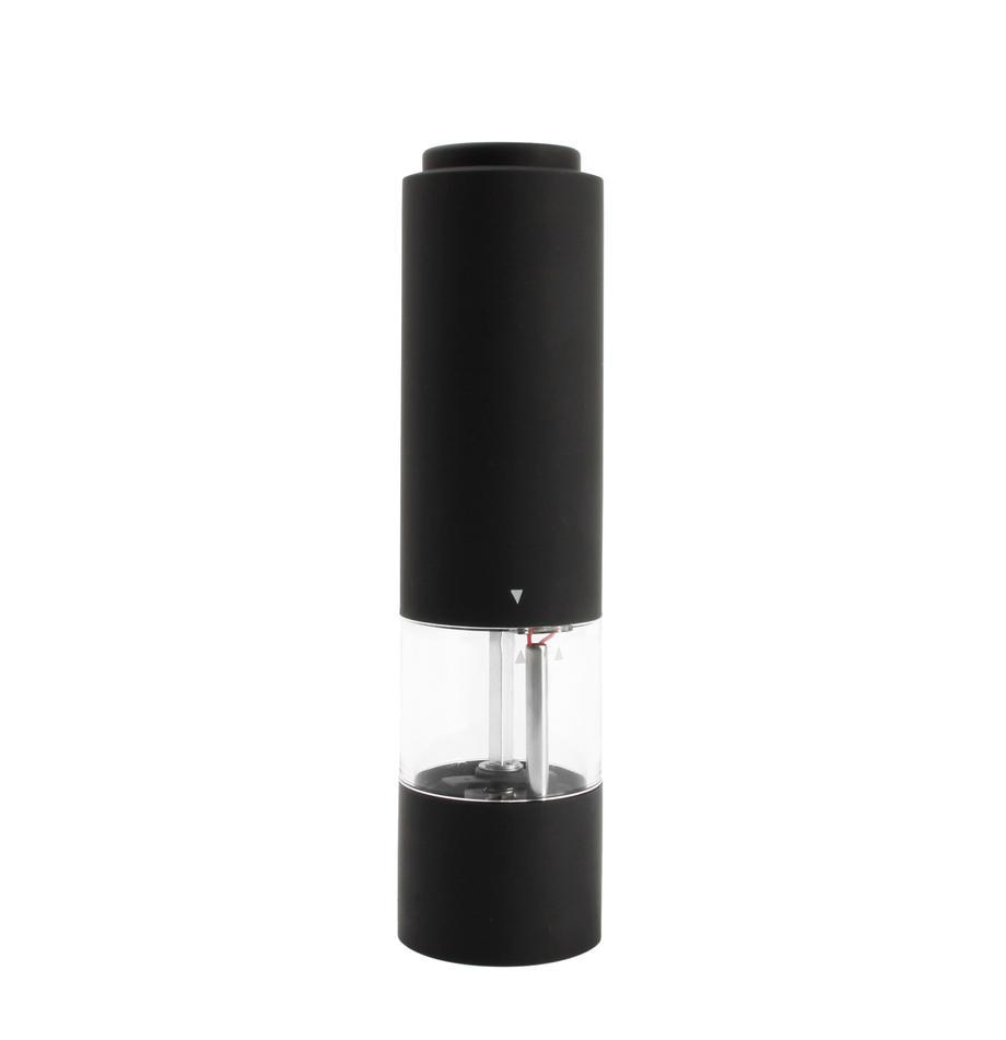 Elektryczny młynek Lecta, Akryl, tworzywo sztuczne (ABS), guma, ceramika, Czarny, transparentny, odcienie srebrnego, Ø 5 x W 19 cm