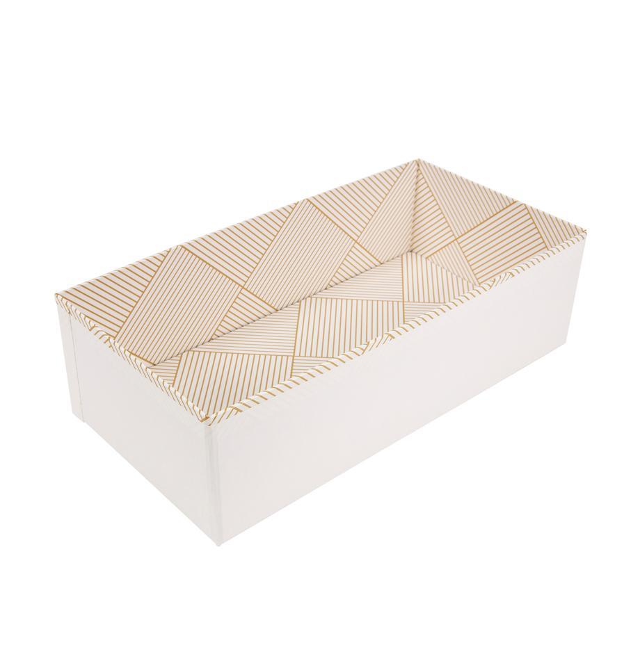 Organizador Drawer, Cartón laminado macizo, Dorado, blanco, An 36 x Al 10 cm
