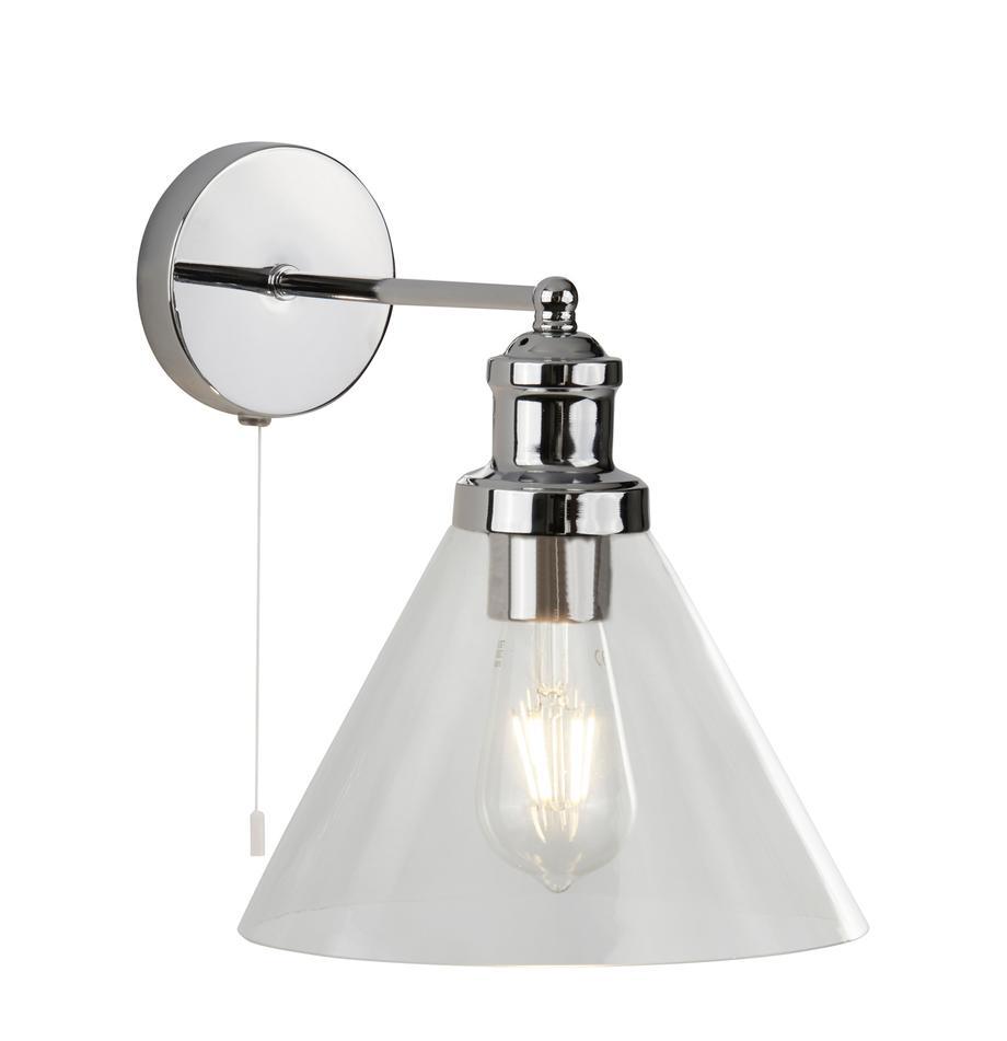 Aplique Pyramid, Pantalla: vidrio, Interruptor: plástico, Cromo, transparente, An 19 x Al 25 cm