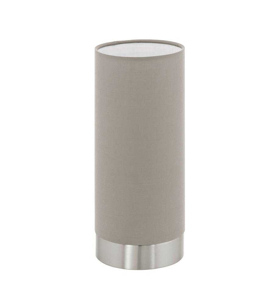 Lampada da tavolo dimmerabile Pasteri, Paralume: poliestere, Base della lampada: acciaio nichelato, Taupe nichel, Ø 12 x Alt. 26 cm