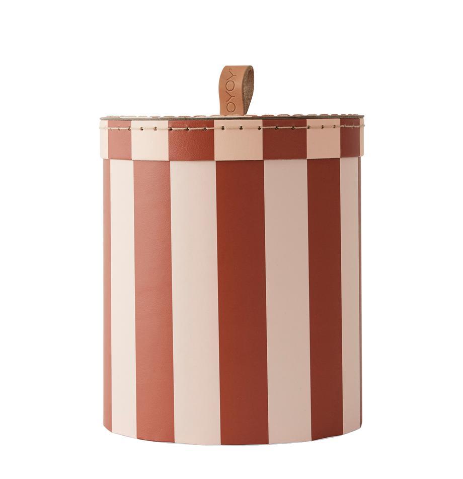 Scatola Cecila, Cartone, pelle, Rosso, crema, Ø 17 x Alt. 20 cm