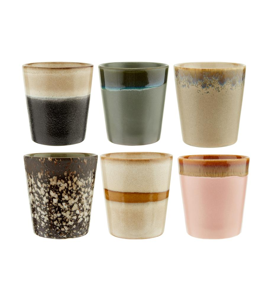 Set 6 tazze retrò fatte a mano  70's, Ceramica, Rosa, beige, blu, Ø 8 x Alt. 8 cm