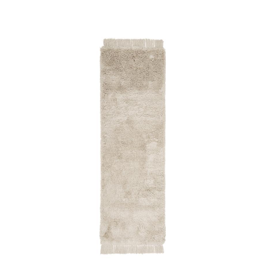 Pluizige hoogpolige loper Dreamy met franjes, Bovenzijde: 100% polyester, Onderzijde: 100% katoen, Crèmekleurig, 80 x 250 cm