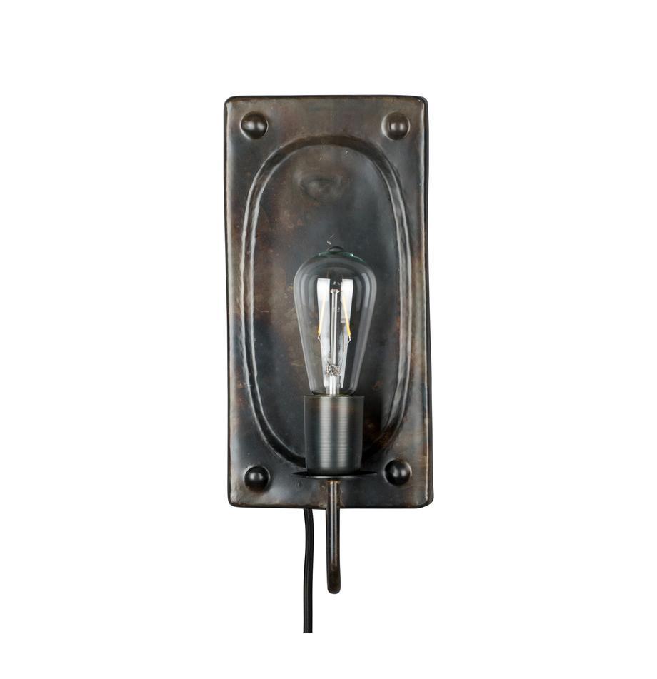 Aplique Brody, con enchufe, Lámpara: metal con pintura en polv, Cable: cubierto en tela, Marrón oscuro, An 16 x Al 38 cm