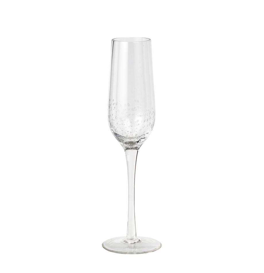 Mundgeblasene Sektgläser Bubble mit Lufteinschlüssen, 4er-Set, Glas, mundgeblasen, Transparent mit Lufteinschlüssen, Ø 7 x H 25 cm