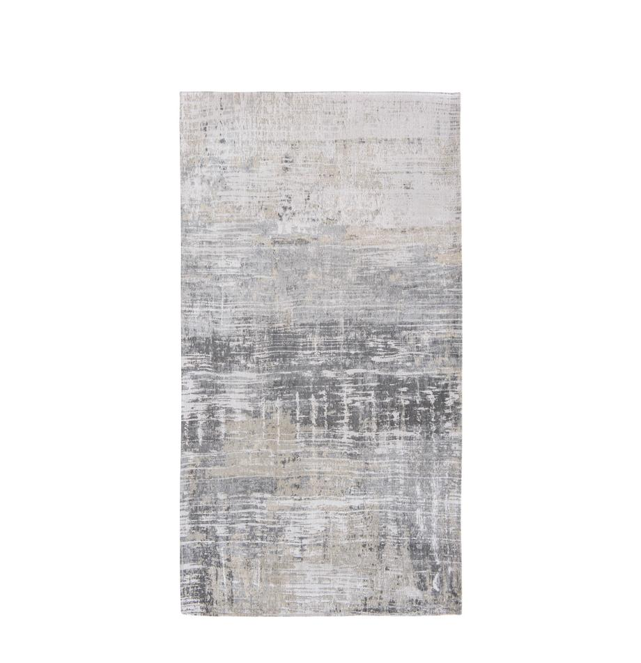 Tappeto grigio di design Streaks, Tessuto: Jacquard, Retro: Miscela di cotone, rivest, Tonalità grigie, Larg. 80 x Lung. 150 cm (taglia XS)