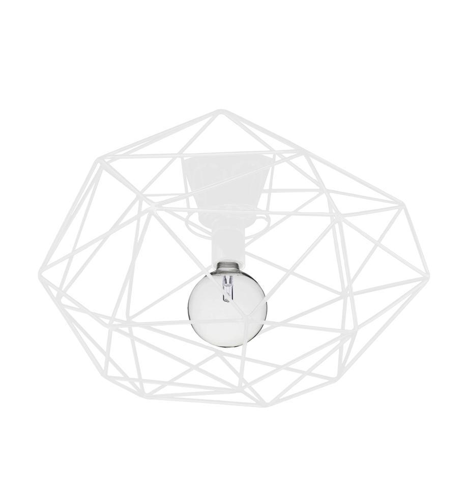 Plafoniera bianca Diamond, Ottone verniciato, Bianco, Ø 50 x Alt. 32 cm