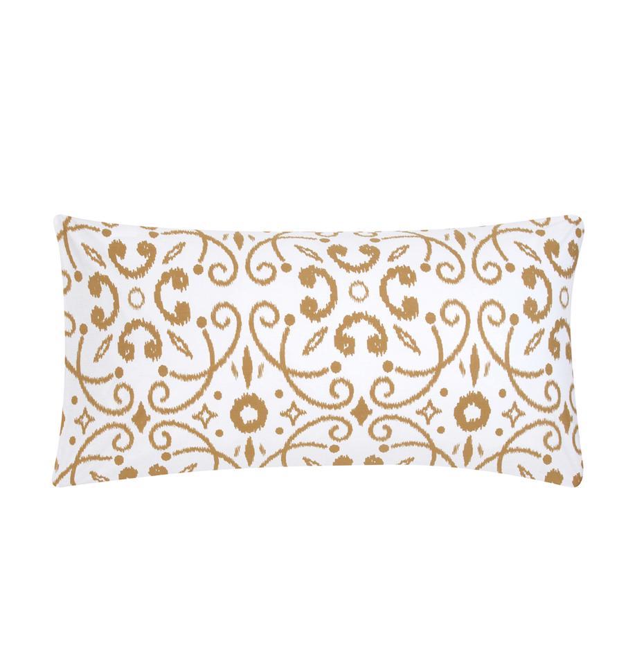 Poszewka na poduszkę z bawełny Ashley, 2 szt., Biały, musztardowy, S 40 x D 80 cm