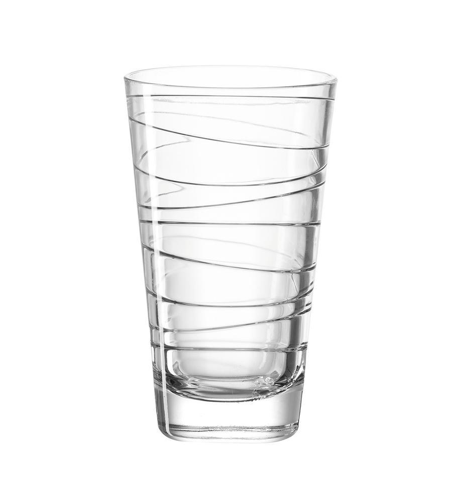 Wassergläser Vario mit feinen Linien, 6 Stück, Kalk-Natron Glas, Transparent, Ø 8 x H 13 cm