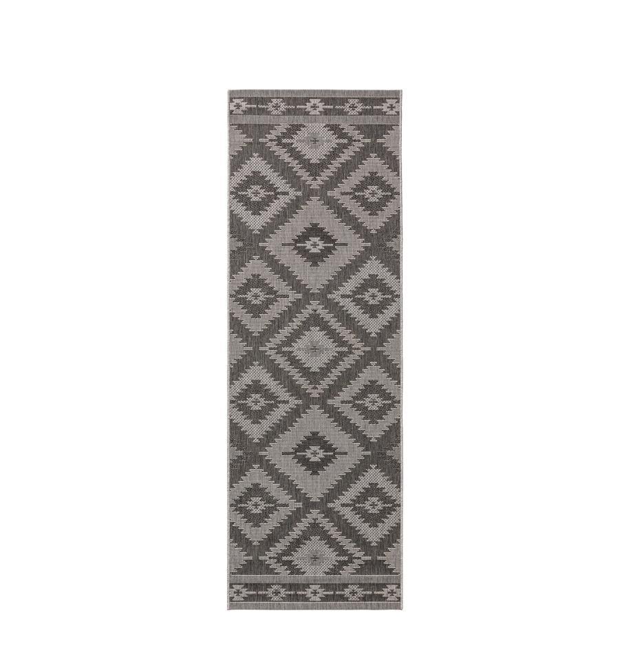 Alfombra de interior/exterior Riso, estilo étnico, 100%polipropileno, Gris, An 80 x L 240 cm