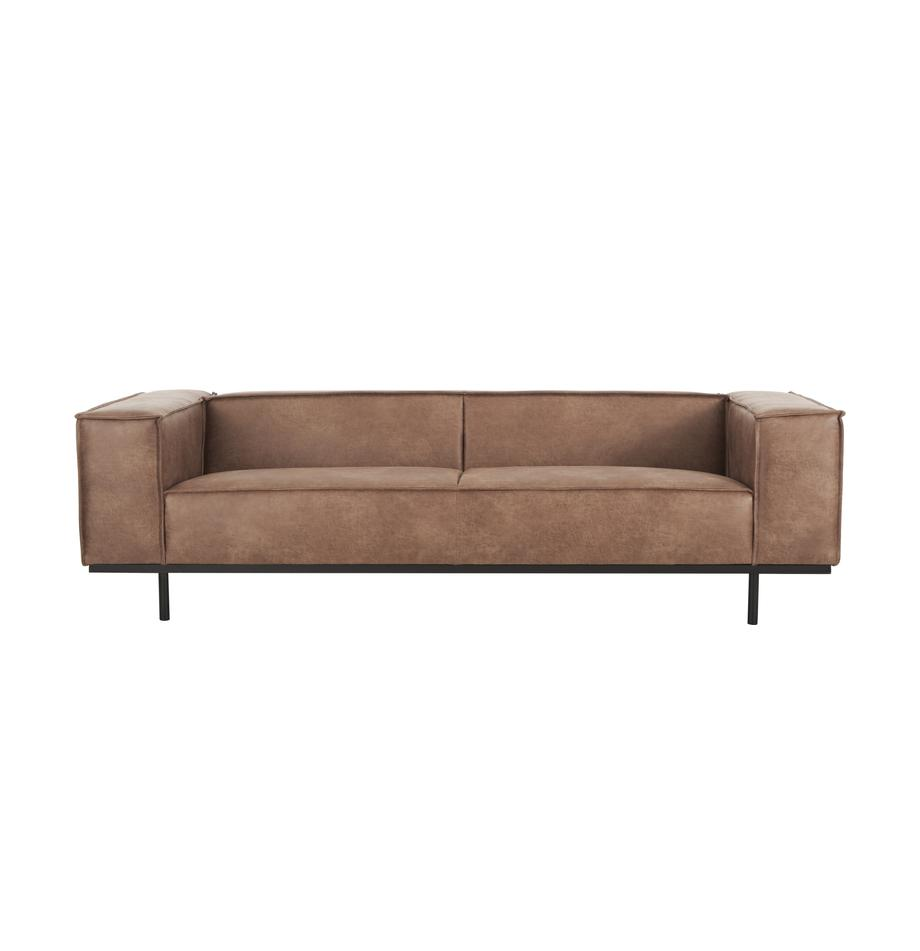 Leder-Sofa Abigail (3-Sitzer) in Braun mit Metall-Füssen, Bezug: Lederfaserstoff (70% Lede, Beine: Stahl, lackiert, Leder Braun, B 230 x T 95 cm
