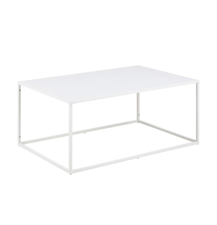Tavolino da salotto in metallo bianco Newton, Metallo verniciato a polvere, Bianco, Larg. 90 x Alt. 40 cm