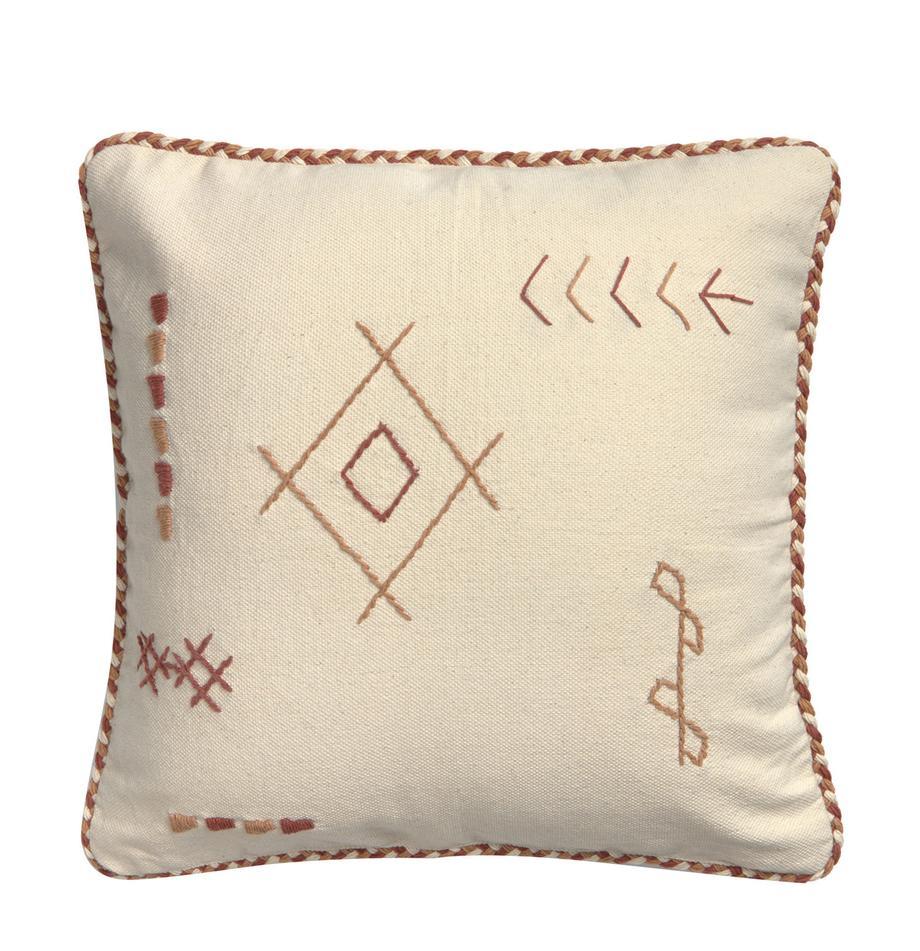 Poszewka na poduszkę Riad, 100% bawełna, Odcienie kremowego, odcienie brązowego, S 45 x D 45 cm
