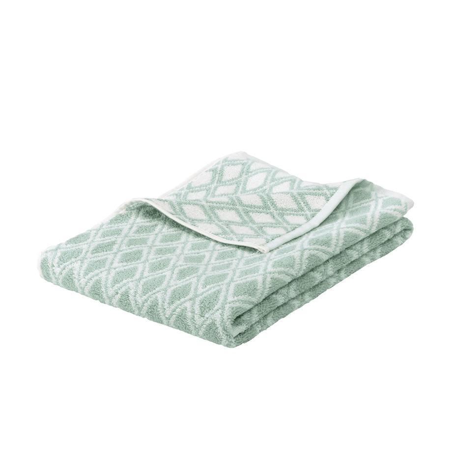 Dwustronny ręcznik Ava, Miętowozielony, kremowobiały, Ręcznik dla gości