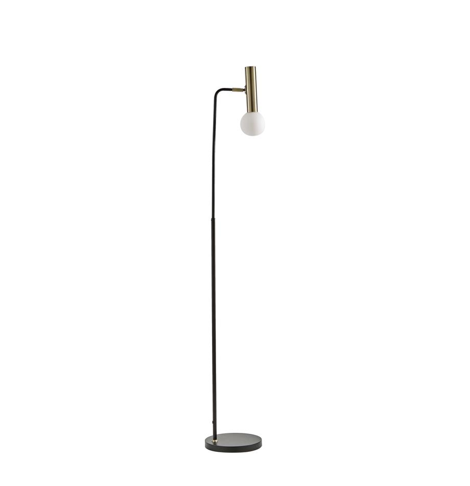 Lampada da terra con paralume in vetro Wilson, Base della lampada: metallo, Paralume: vetro, Nero, Ø 23 x Alt. 151 cm