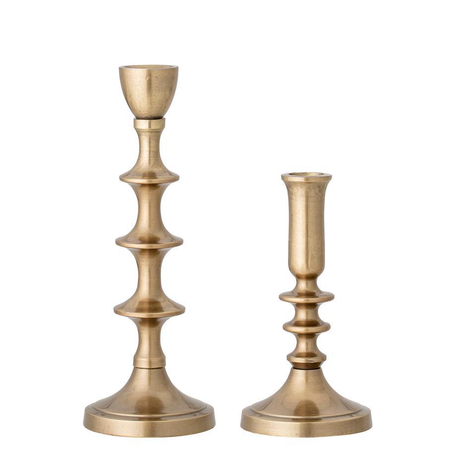 Komplet świeczników Mis, 2 elem., Aluminium powlekane, Odcienie mosiądzu, Komplet z różnymi rozmiarami