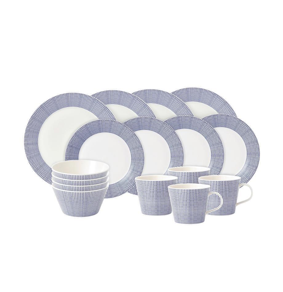 Komplet naczyń z porcelany Pacific, 16-elem., Porcelana, Biały, niebieski, Komplet z różnymi rozmiarami