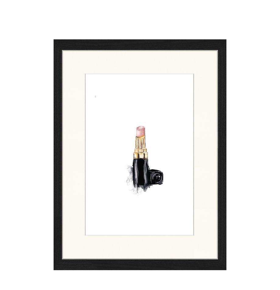 Ingelijste digitale print Lipstick, Afbeelding: digitale print op papier,, Lijst: gelakt hout, Multicolour, 33 x 43 cm