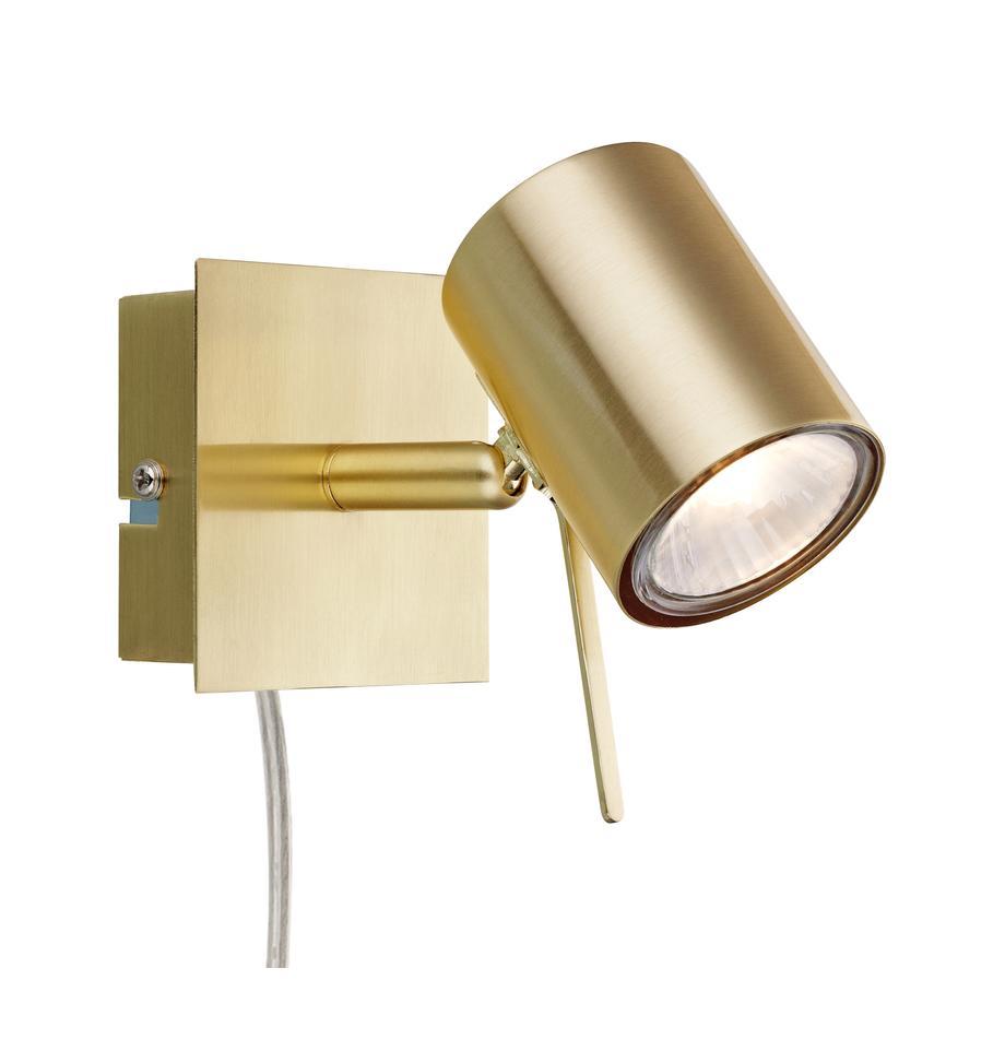 Aplique Hyssna, con enchufe, Pantalla: metal, latón, Cable: plástico, Latón, An 8 x Al 9 cm