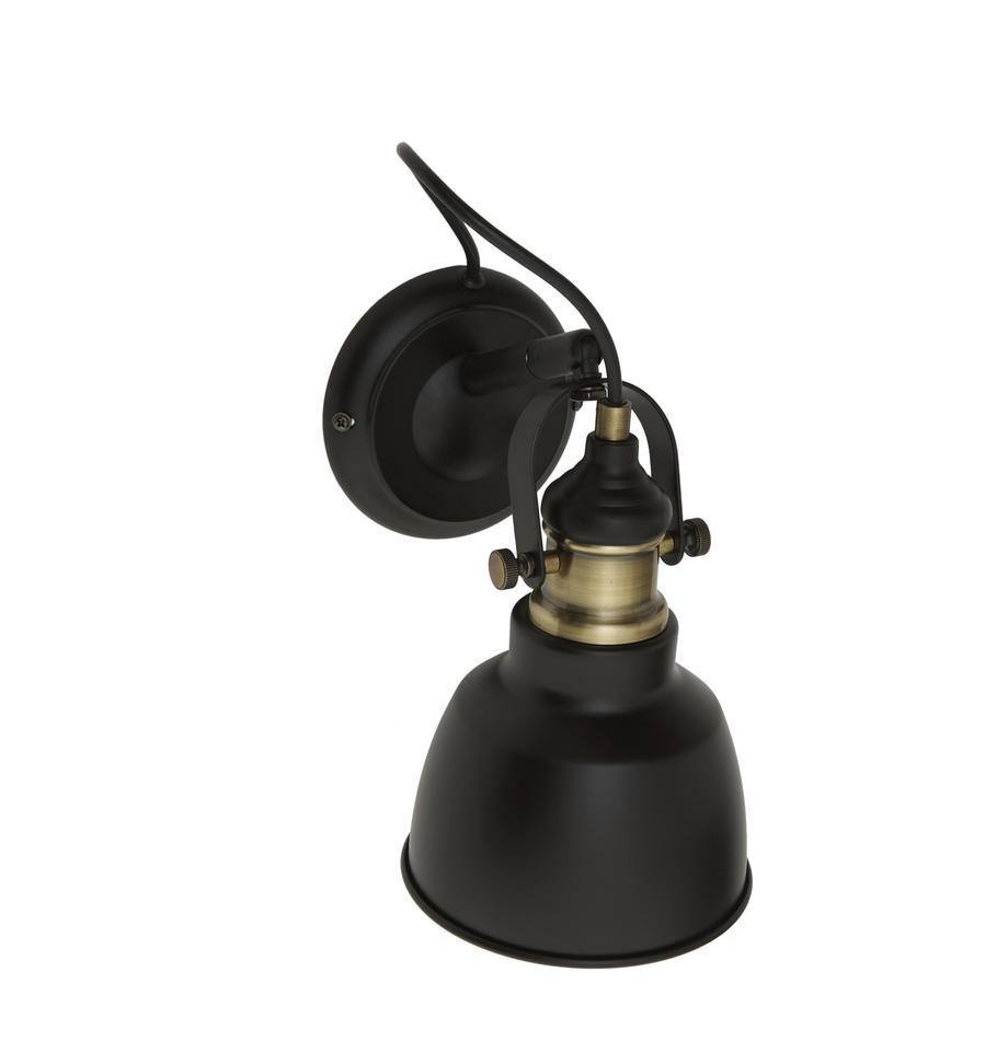 Aplique Thornford, Pantalla: acero pintado, Fijación: acero pintado, Negro, latón, An 15 x Al 20 cm