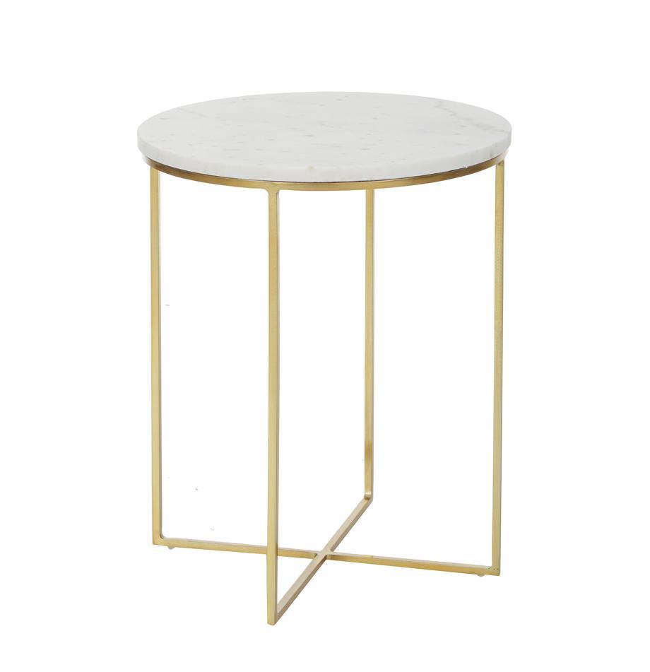 Runder Marmor-Beistelltisch Alys, Tischplatte: Marmor, Gestell: Metall, pulverbeschichtet, Tischplatte: Weiss-grauer MarmorGestell: Goldfarben, glänzend, Ø 40 x H 50 cm