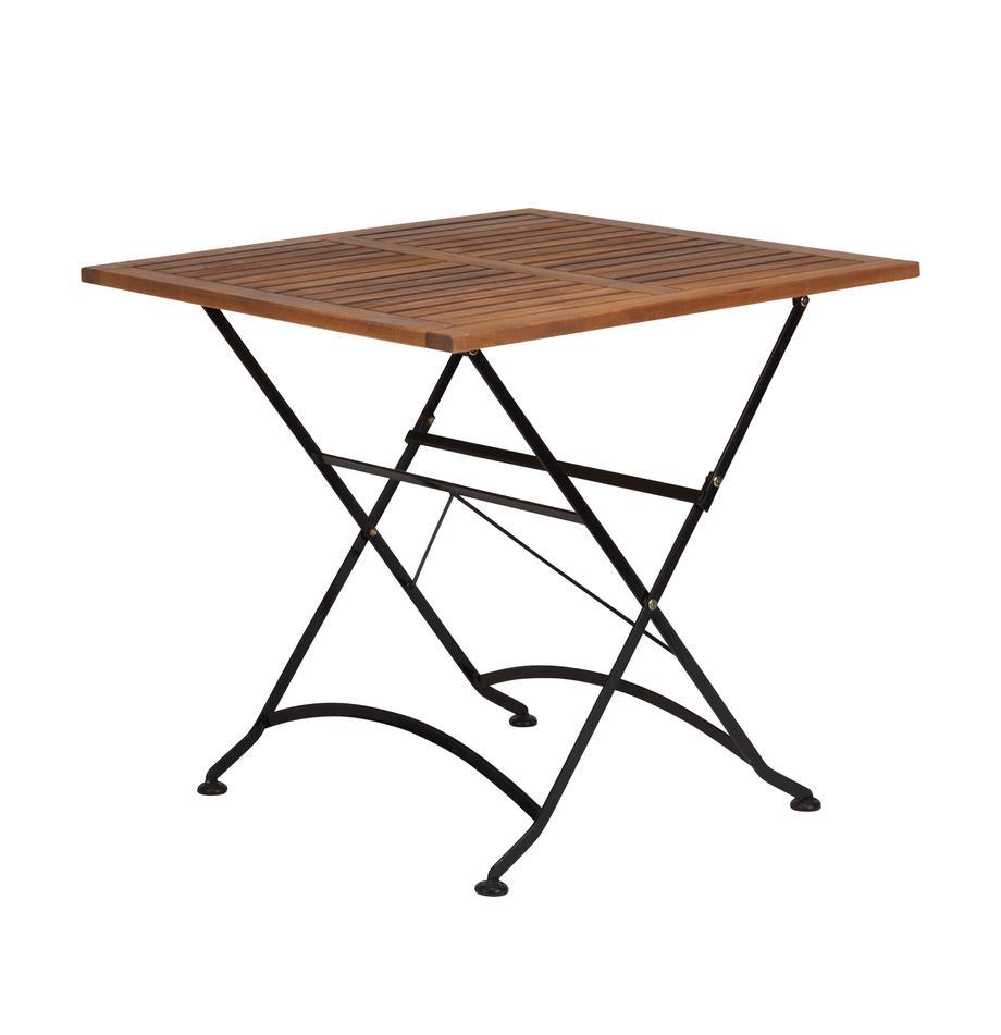 Mesa plegable de exterior Parklife, Tablero: madera de acacia, aceitad, Estructura: metal galvanizado con pin, Negro, acacia, An 80 x Al 75 cm
