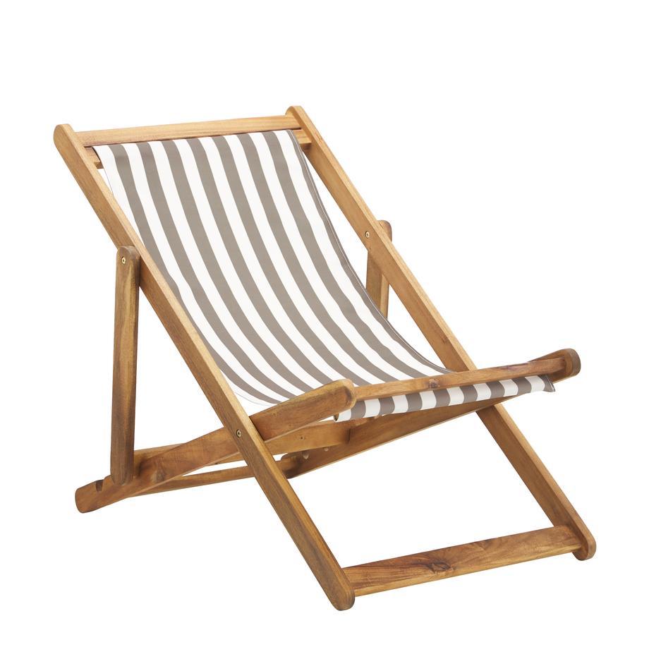 Sedia a sdraio pieghevole Zoe, Struttura: legno di acacia massiccio, Beige, bianco, Larg. 59 x Prof. 84 cm