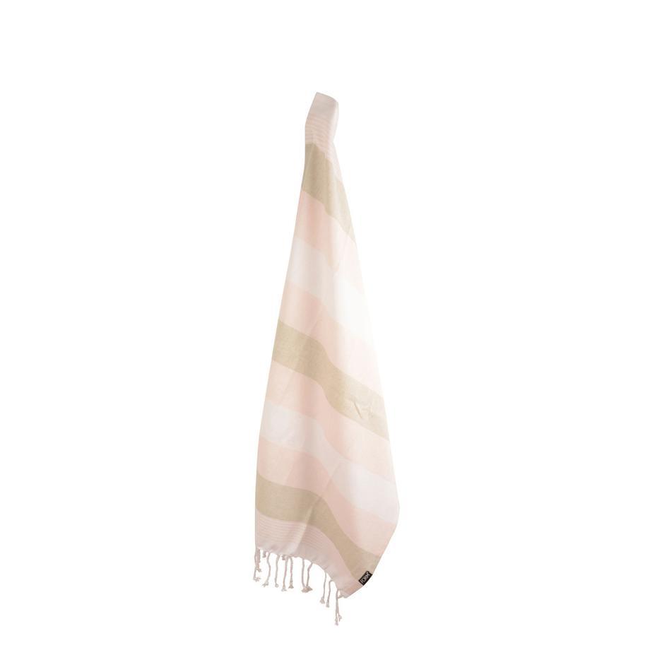 Baumwoll-Geschirrtücher Hanny, 2 Stück, Baumwolle, Rosa, Beige, gebrochenes Weiss, 50 x 70 cm