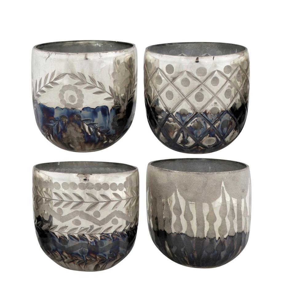 Teelichthalter-Set Excelsior, 4-tlg., Glas, Silberfarben, Anthrazit, Ø 10 x H 9 cm