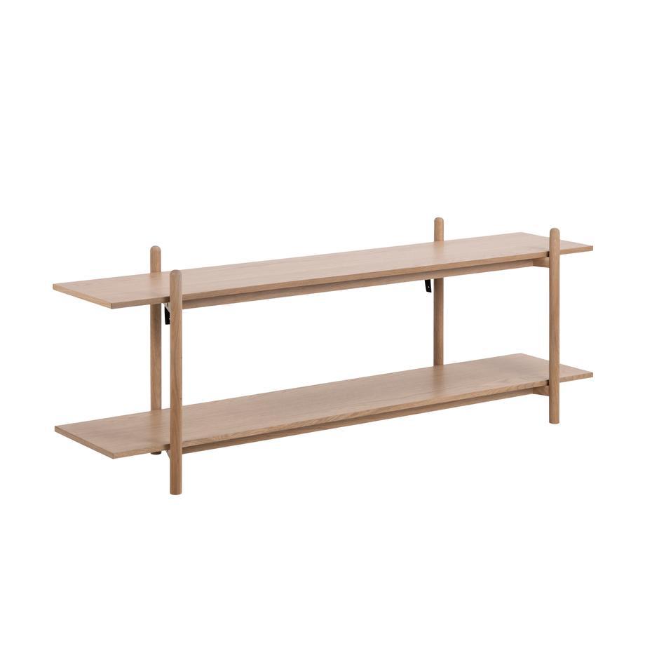 Libreria bassa in legno Asbaek, Pannello di fibra a media densità (MDF) con impiallacciatura in rovere, Marrone, Larg. 150 x Alt. 55 cm
