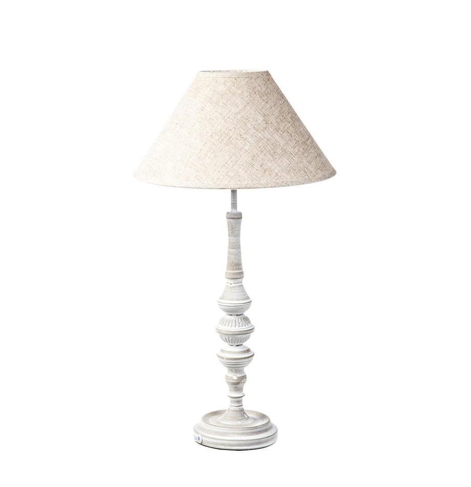 Lámpara de mesa Barnaba, Metal, Blanco crudo, tonos beige, Ø 30 x Al 57 cm